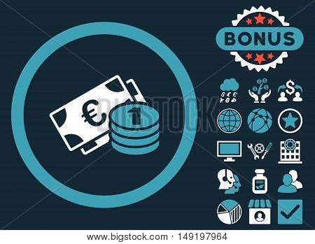 Euro Money icon with bonus pictogram. Vector illustration style is flat iconic bicolor symbols blue and white colors dark blue background.