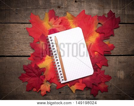 Small notebook on autumn leaves on a rustic wooden table