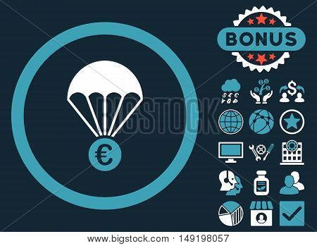 Euro Parachute icon with bonus images. Vector illustration style is flat iconic bicolor symbols blue and white colors dark blue background.