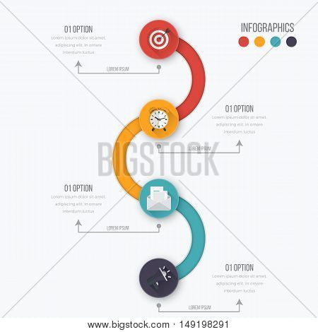 Vector illustration circles timeline infographic design. Business concept with four options