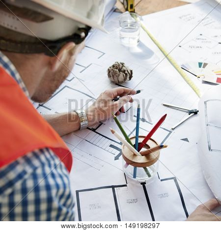 Architect Engineer Blueprint Planning Construction Concept