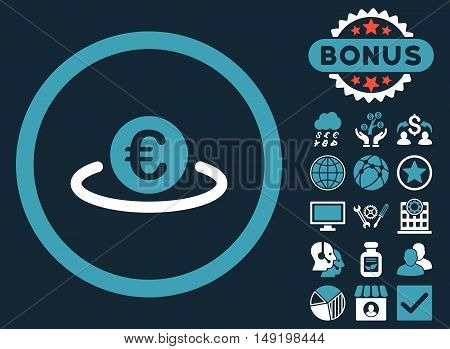 Euro Placement icon with bonus pictogram. Vector illustration style is flat iconic bicolor symbols blue and white colors dark blue background.