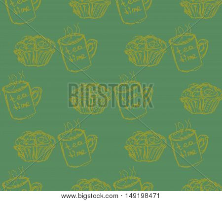 eat meal breakfast set illustration seamless pattern