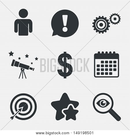 Business icons. Human silhouette and aim targer with arrow signs. Dollar currency and gear symbols. Attention, investigate and stars icons. Telescope and calendar signs. Vector