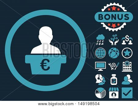 Euro Politician icon with bonus elements. Vector illustration style is flat iconic bicolor symbols blue and white colors dark blue background.