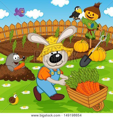 rabbit gardener with carrot - vector illustration, eps