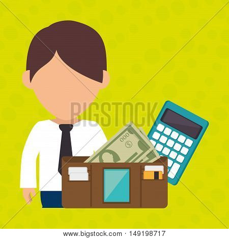 man calculator wallet money vector illustration eps 10