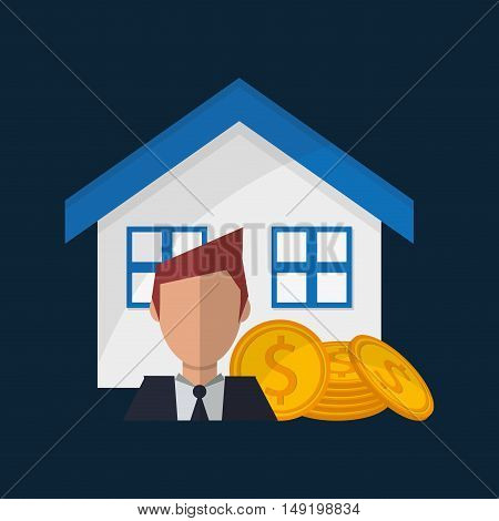 house money and broker real state related icons image vector illustration