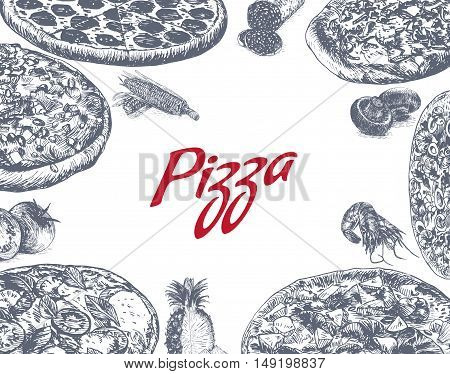 Illustration of various sort of pizzas. Monochrome illustration of pizzas