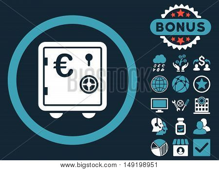 Euro Safe icon with bonus pictures. Vector illustration style is flat iconic bicolor symbols blue and white colors dark blue background.