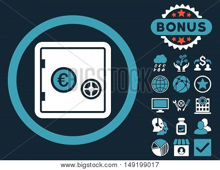 Euro Safe icon with bonus elements. Vector illustration style is flat iconic bicolor symbols blue and white colors dark blue background.