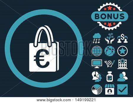 Euro Shopping Bag icon with bonus symbols. Vector illustration style is flat iconic bicolor symbols blue and white colors dark blue background.