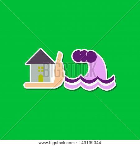 paper sticker on stylish background nature flood house