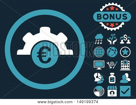 Euro Technology icon with bonus images. Vector illustration style is flat iconic bicolor symbols blue and white colors dark blue background.