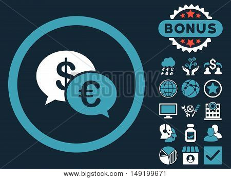 Euro Transactions icon with bonus images. Vector illustration style is flat iconic bicolor symbols blue and white colors dark blue background.