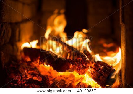 wood and coal burning in a fireplace