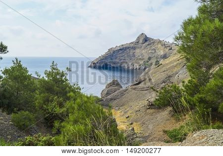 The landscape of the bay in the Crimea on the trail Golitsyn