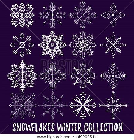 Snowflakes big christamas new year vector set