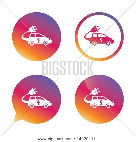 Electric car sign icon. Hatchback symbol. Electric vehicle transport. Gradient buttons with flat icon. Speech bubble sign. Vector