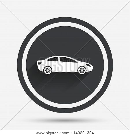 Car sign icon. Sedan saloon symbol. Transport. Circle flat button with shadow and border. Vector