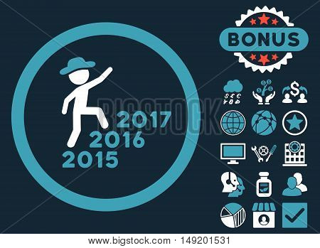 Gentleman Steps Years icon with bonus design elements. Vector illustration style is flat iconic bicolor symbols blue and white colors dark blue background.