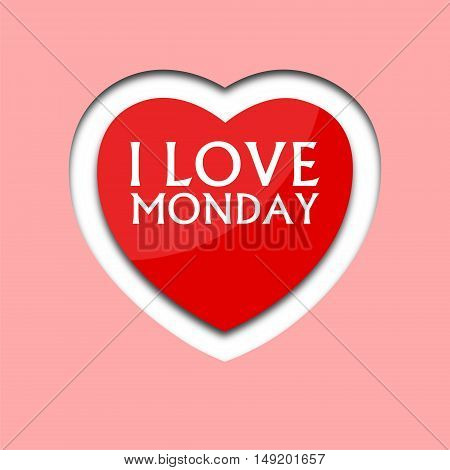I love monday, font type with heart