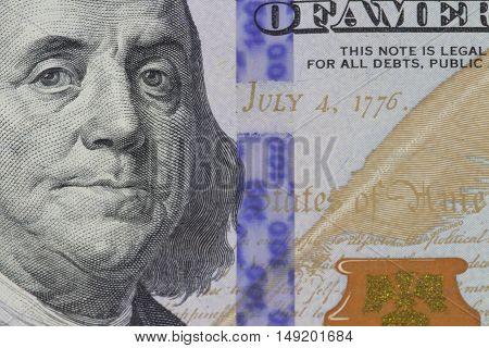the American dollar money Franklin portrait close-up