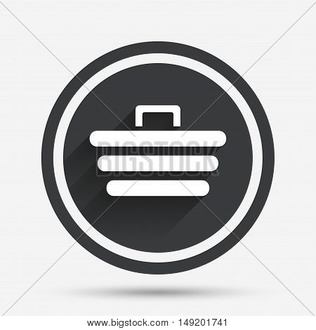 Shopping Cart sign icon. Online buying button. Circle flat button with shadow and border. Vector