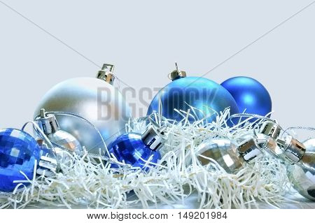 Blue and silver balls for Christmas decoration