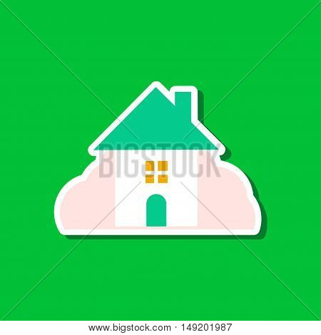 paper sticker on stylish background House covered with snow