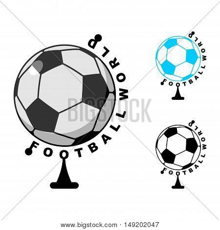 Football World . Globe Soccer Ball Game. Sports Accessory As Earth Sphere. Scope Football Game