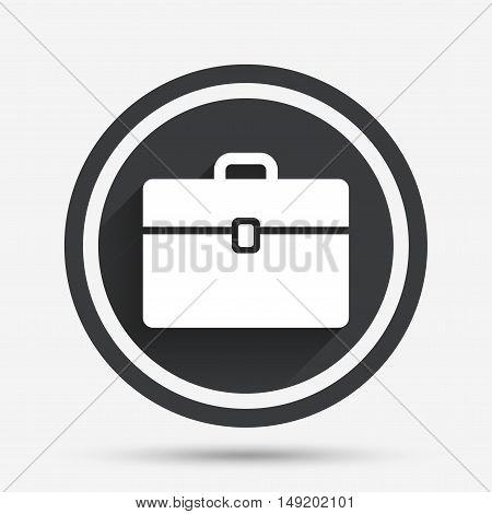 Case sign icon. Briefcase button. Circle flat button with shadow and border. Vector