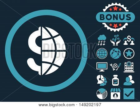 Global Business icon with bonus symbols. Vector illustration style is flat iconic bicolor symbols blue and white colors dark blue background.