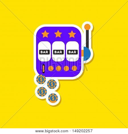 paper sticker on stylish background of slot machine winnings