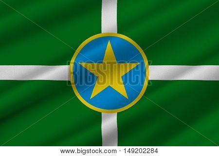 Flag of Jackson is the capital city of Mississippi United States. 3D illustration