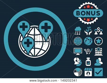 Global Clinic Company icon with bonus elements. Vector illustration style is flat iconic bicolor symbols blue and white colors dark blue background.