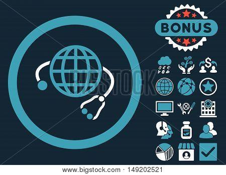 Global Medicine icon with bonus symbols. Vector illustration style is flat iconic bicolor symbols blue and white colors dark blue background.
