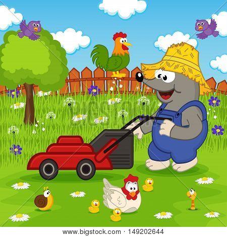mole cutting grass lawn mower - vector illustration, eps