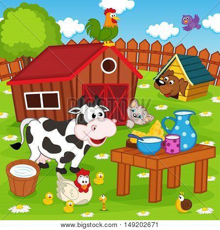 farm animals in barnyard - vector illustration, eps