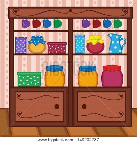 shelves in kitchen with food and utensils - vector illustration, eps