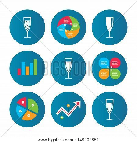 Business pie chart. Growth curve. Presentation buttons. Champagne wine glasses icons. Alcohol drinks sign symbols. Sparkling wine with bubbles. Data analysis. Vector