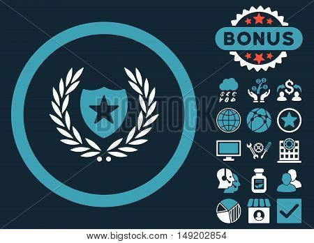 Glory Shield icon with bonus elements. Vector illustration style is flat iconic bicolor symbols blue and white colors dark blue background.