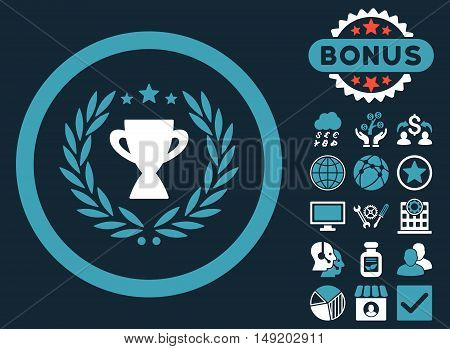 Glory icon with bonus images. Vector illustration style is flat iconic bicolor symbols blue and white colors dark blue background.