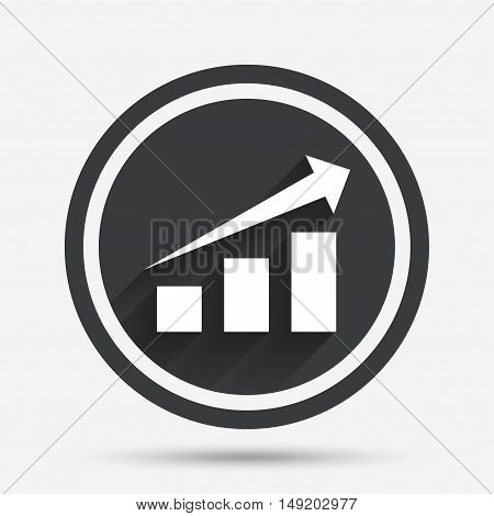 Chart with arrow sign icon. Success diagram symbol. Statistics. Circle flat button with shadow and border. Vector