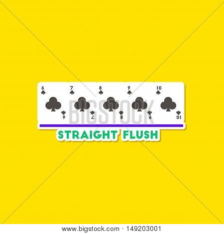 paper sticker on stylish background of poker straight flush