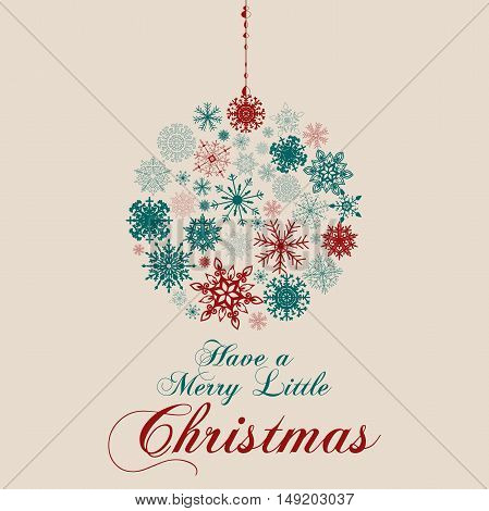 Vector Christmas Messages and objects on greeting card. Elements are layered separately in vector file.