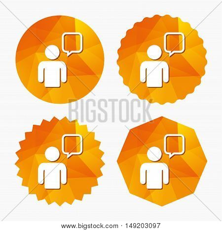 Chat sign icon. Speech bubble symbol. Chat bubble with human. Triangular low poly buttons with flat icon. Vector
