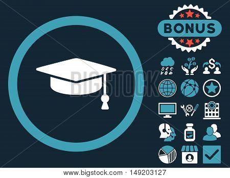 Graduation Cap icon with bonus elements. Vector illustration style is flat iconic bicolor symbols blue and white colors dark blue background.
