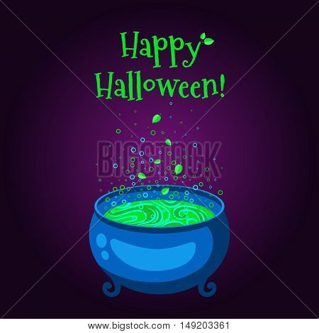 Happy Halloween poster . The cauldron with green full of boiling potion on a purple background.