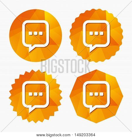 Chat sign icon. Speech bubble with three dots symbol. Communication chat bubble. Triangular low poly buttons with flat icon. Vector
